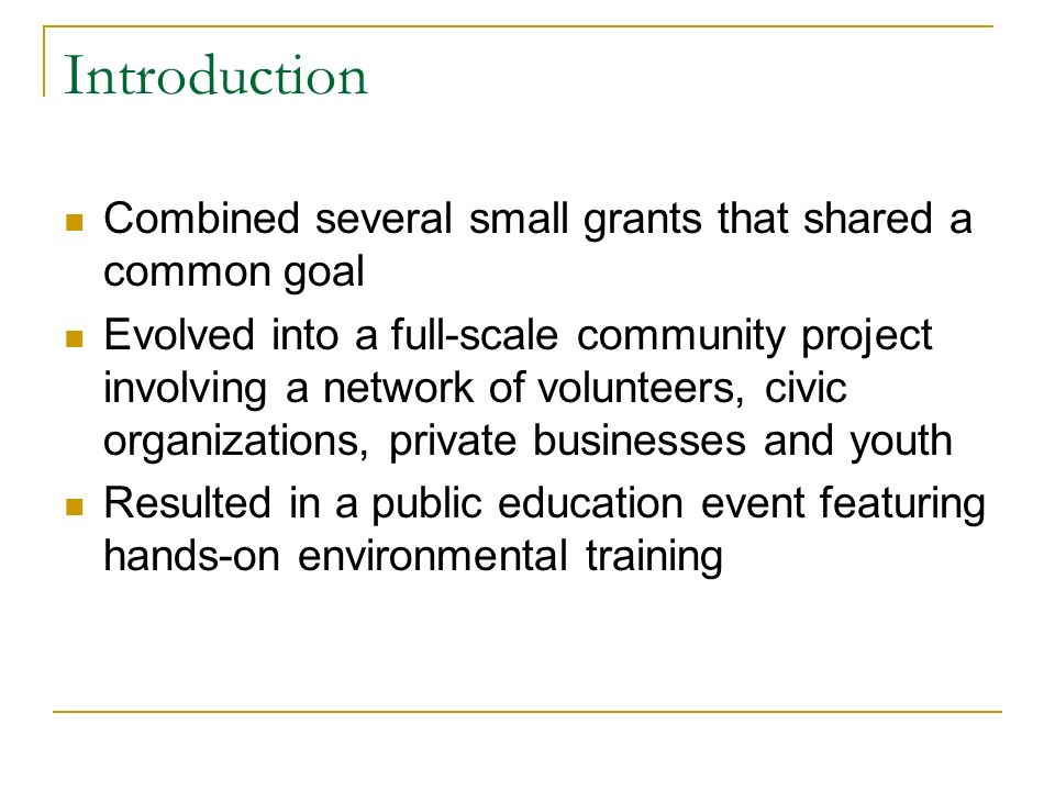 Introduction Combined several small grants that shared a common goal Evolved into a full-scale community project involving a network of volunteers, civic organizations, private businesses and youth Resulted in a public education event featuring hands-on environmental training