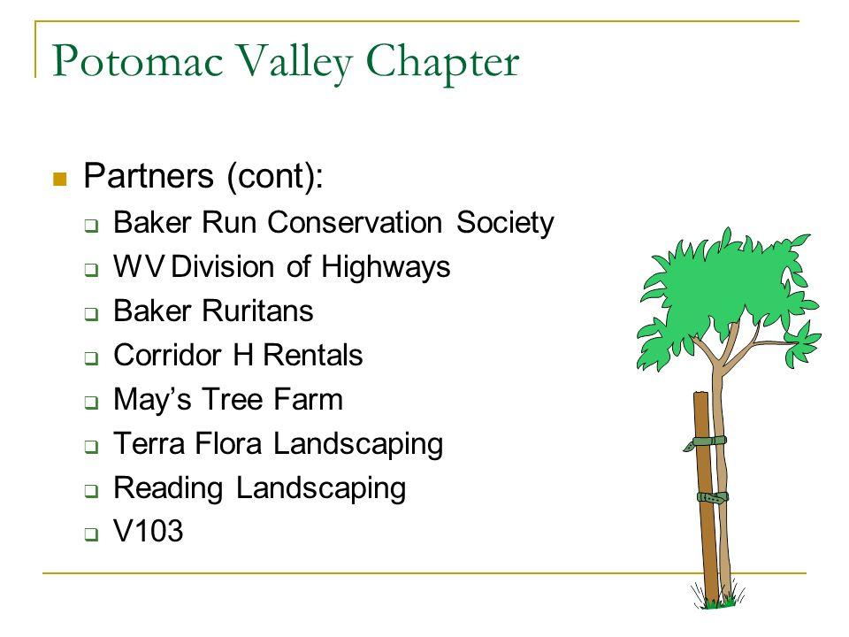 Potomac Valley Chapter Partners (cont): Baker Run Conservation Society WV Division of Highways Baker Ruritans Corridor H Rentals Mays Tree Farm Terra