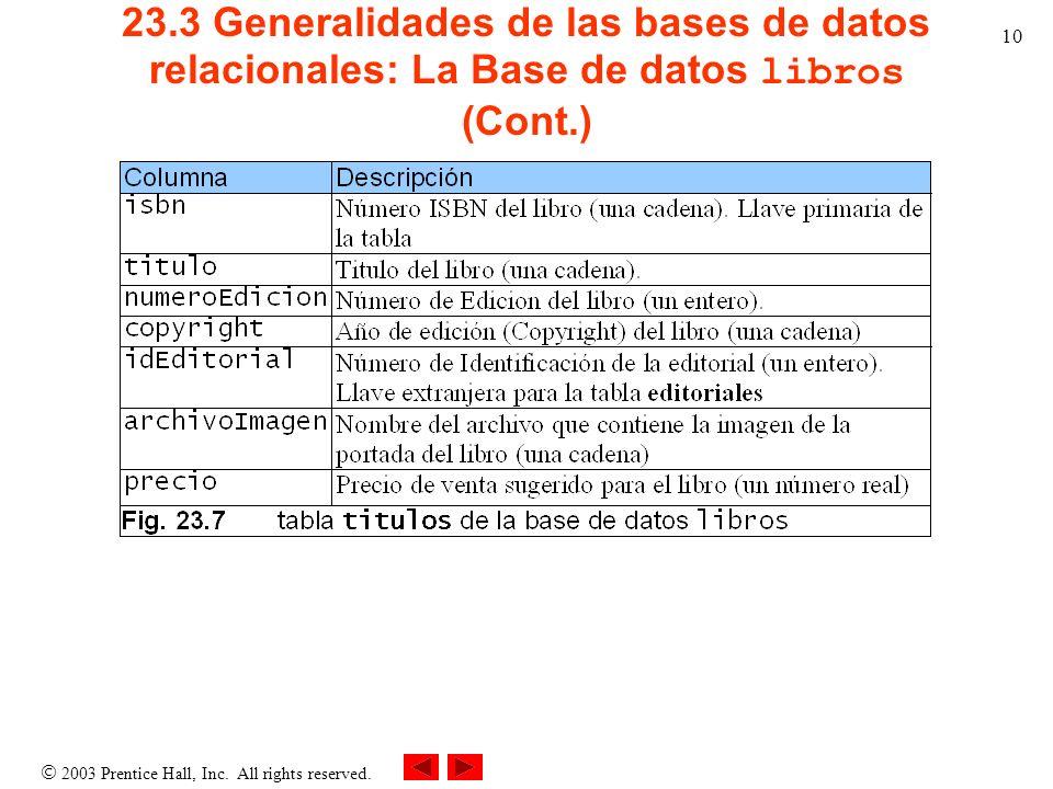 2003 Prentice Hall, Inc. All rights reserved. 10 23.3 Generalidades de las bases de datos relacionales: La Base de datos libros (Cont.)