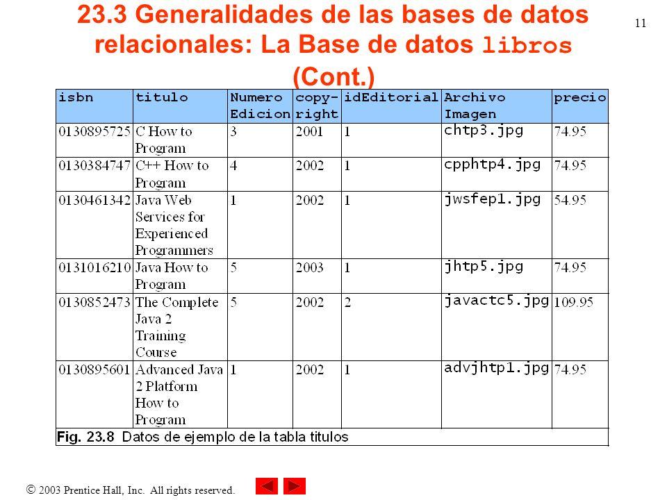 2003 Prentice Hall, Inc. All rights reserved. 11 23.3 Generalidades de las bases de datos relacionales: La Base de datos libros (Cont.)
