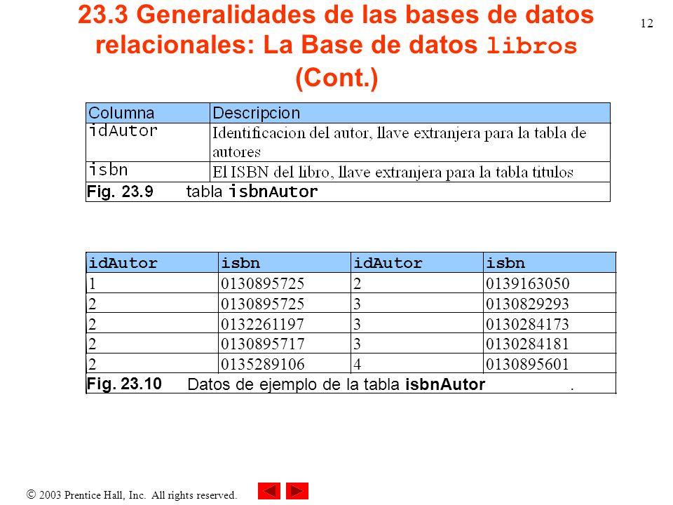 2003 Prentice Hall, Inc. All rights reserved. 12 23.3 Generalidades de las bases de datos relacionales: La Base de datos libros (Cont.) idAutor isbn i