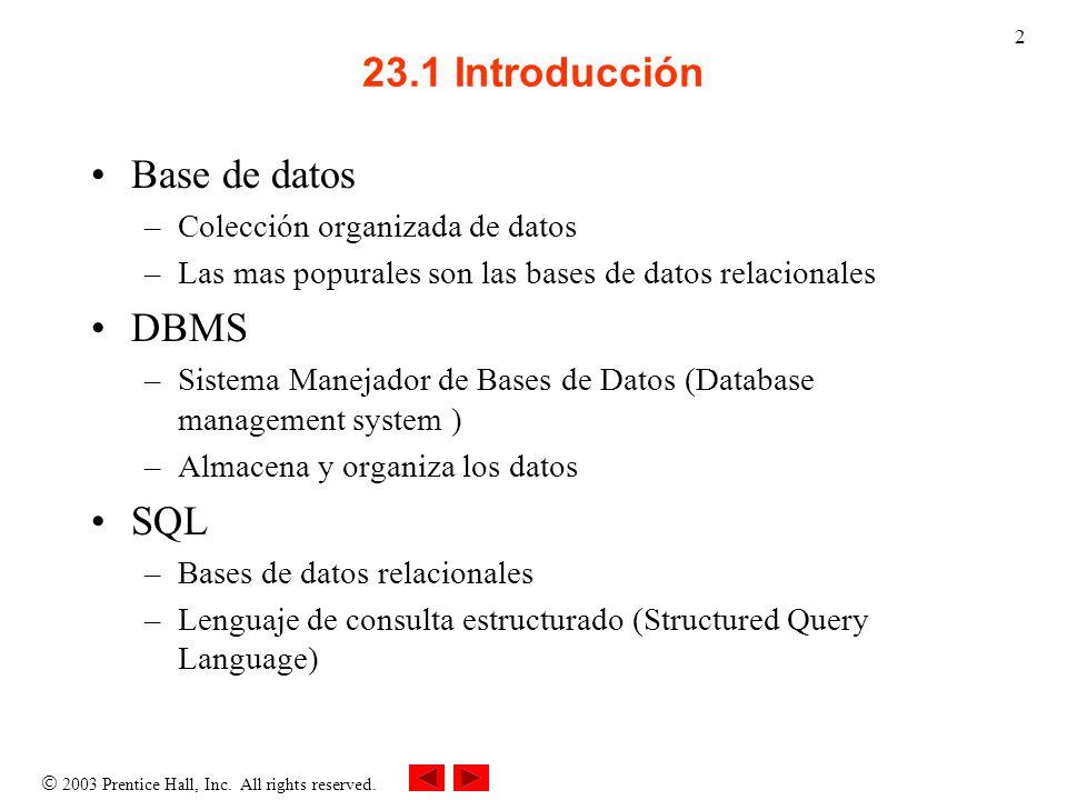 2003 Prentice Hall, Inc. All rights reserved. 2 23.1 Introducción Base de datos –Colección organizada de datos –Las mas popurales son las bases de dat