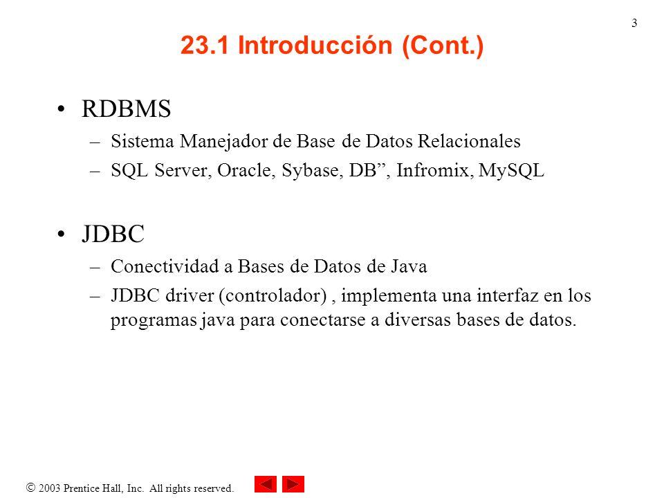 2003 Prentice Hall, Inc. All rights reserved. 3 23.1 Introducción (Cont.) RDBMS –Sistema Manejador de Base de Datos Relacionales –SQL Server, Oracle,