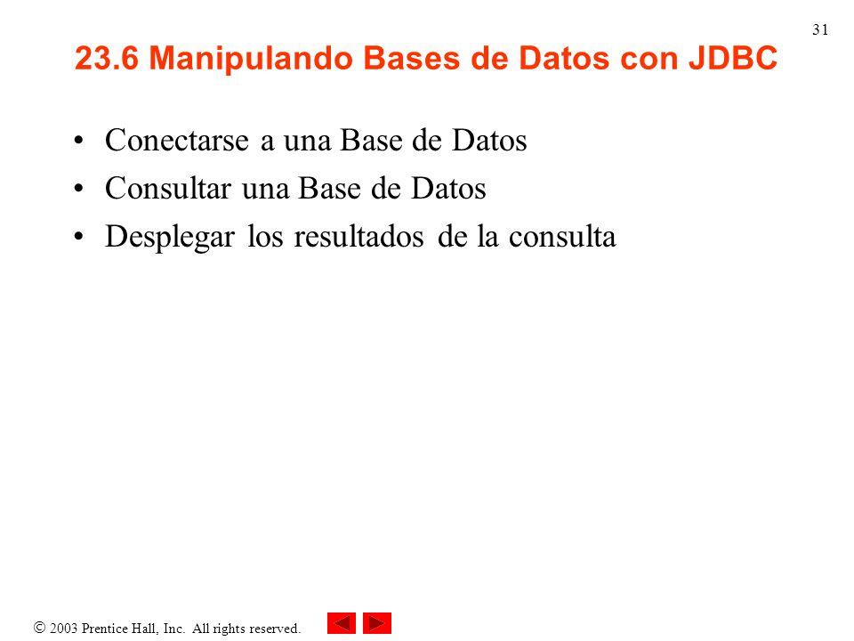 2003 Prentice Hall, Inc. All rights reserved. 31 23.6 Manipulando Bases de Datos con JDBC Conectarse a una Base de Datos Consultar una Base de Datos D