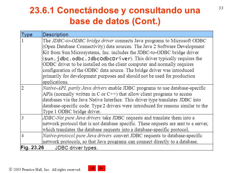 2003 Prentice Hall, Inc. All rights reserved. 33 23.6.1 Conectándose y consultando una base de datos (Cont.) Type Description 1 TheJDBC-to-ODBC bridge