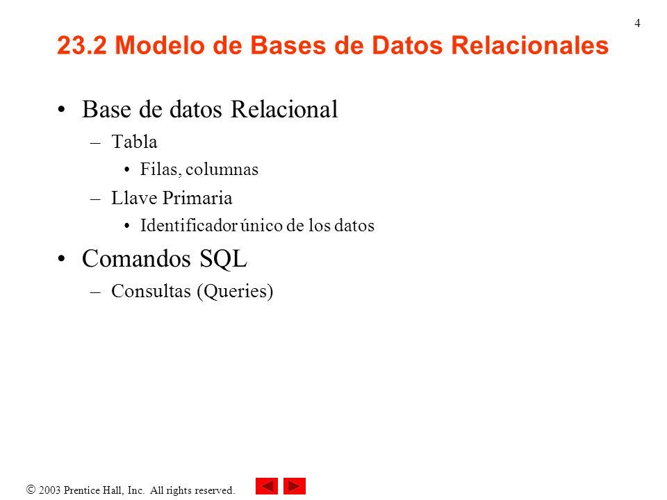 2003 Prentice Hall, Inc. All rights reserved. 4 23.2 Modelo de Bases de Datos Relacionales Base de datos Relacional –Tabla Filas, columnas –Llave Prim
