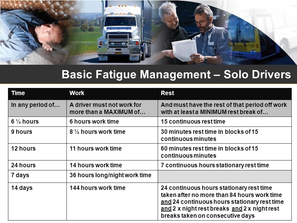 Basic Fatigue Management – Solo Drivers TimeWorkRest In any period of…A driver must not work for more than a MAXIMUM of… And must have the rest of tha