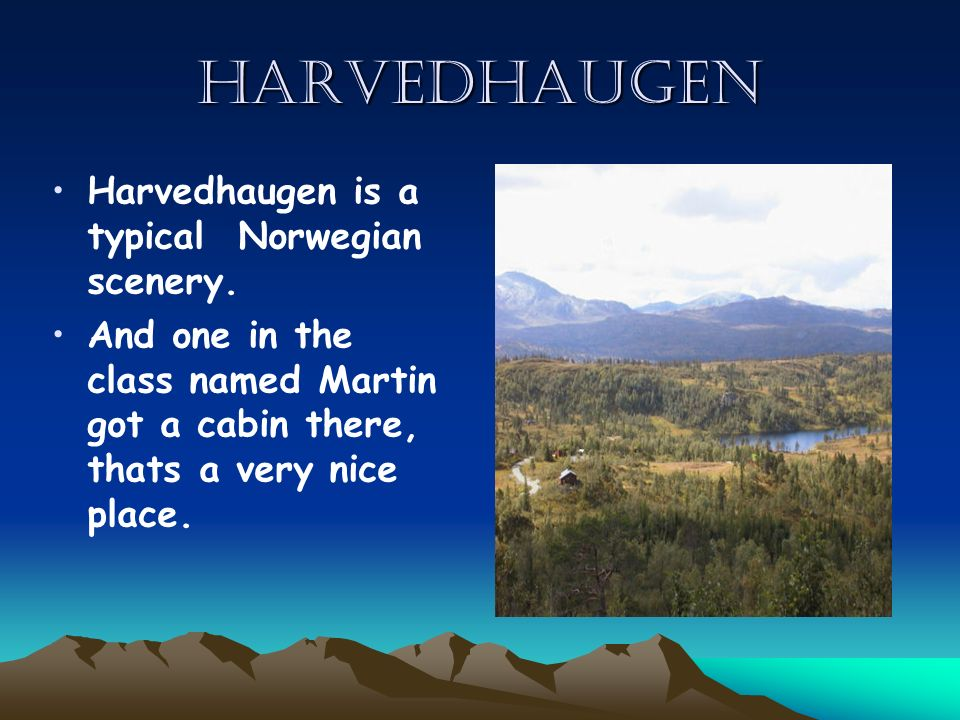 Harvedhaugen Harvedhaugen is a typical Norwegian scenery. And one in the class named Martin got a cabin there, thats a very nice place.
