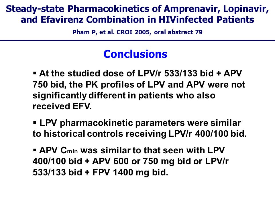 Steady-state Pharmacokinetics of Amprenavir, Lopinavir, and Efavirenz Combination in HIVinfected Patients Pham P, et al. CROI 2005, oral abstract 79 A