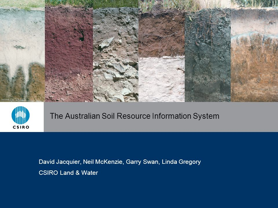 The Australian Soil Resource Information System David Jacquier, Neil McKenzie, Garry Swan, Linda Gregory CSIRO Land & Water
