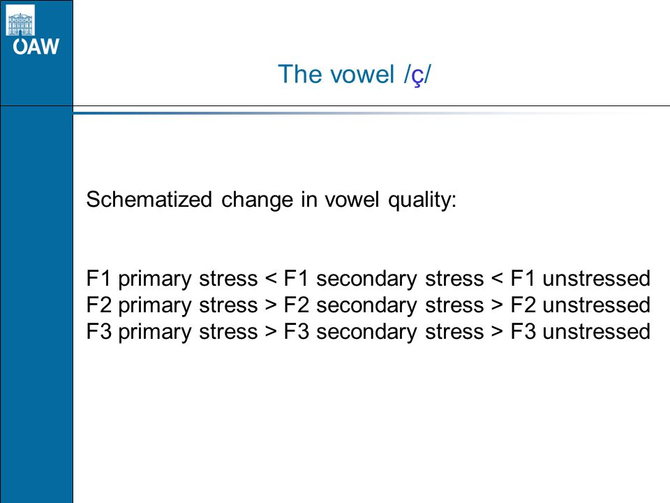 The vowel /ç/ Schematized change in vowel quality: F1 primary stress < F1 secondary stress < F1 unstressed F2 primary stress > F2 secondary stress > F