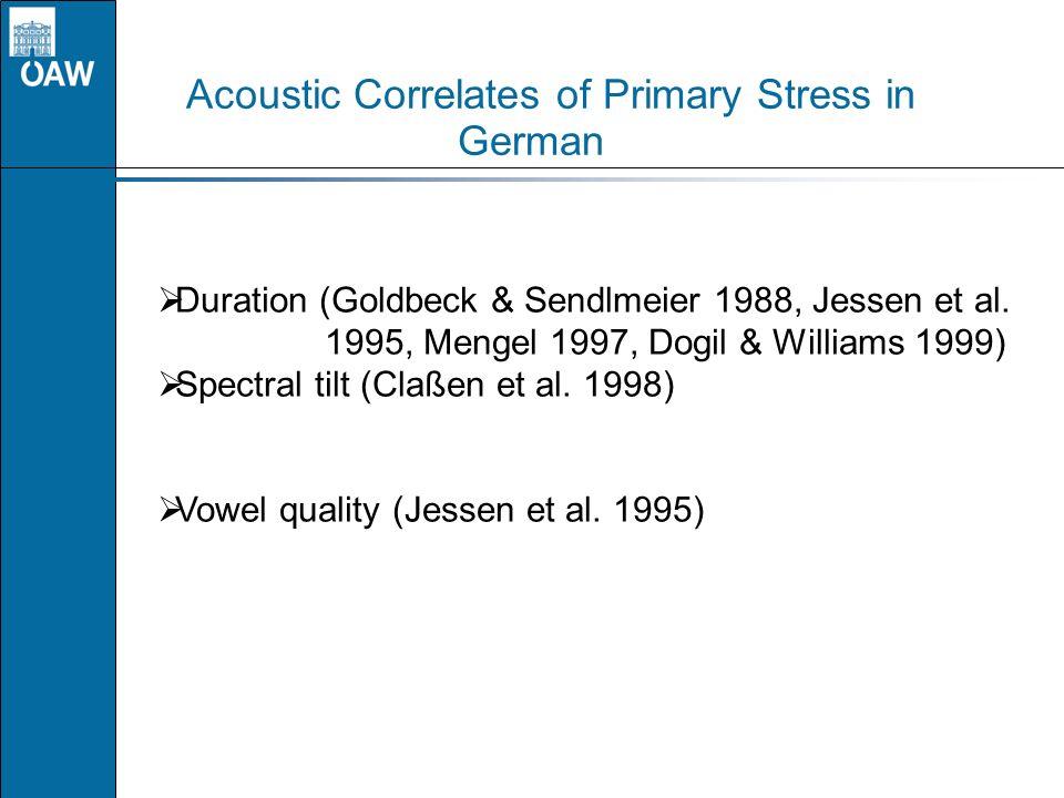 Acoustic Correlates of Primary Stress in German Duration (Goldbeck & Sendlmeier 1988, Jessen et al. 1995, Mengel 1997, Dogil & Williams 1999) Spectral