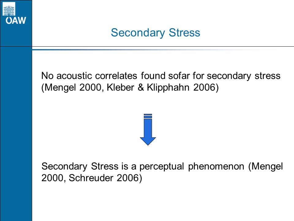Secondary Stress No acoustic correlates found sofar for secondary stress (Mengel 2000, Kleber & Klipphahn 2006) Secondary Stress is a perceptual pheno