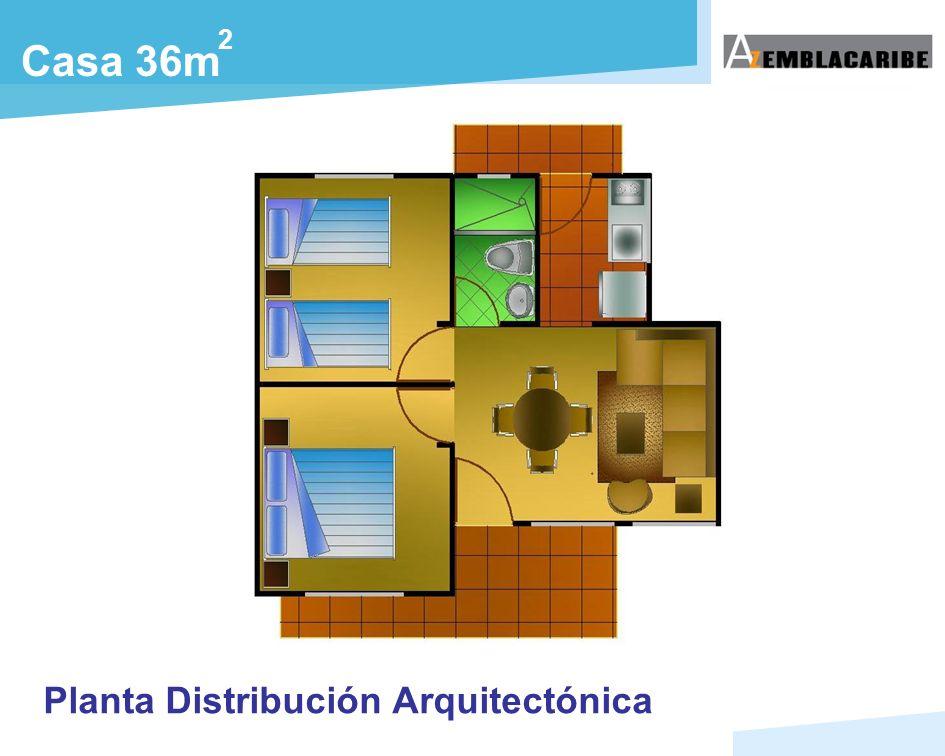 Planta Distribución Arquitectónica Casa 36m 2