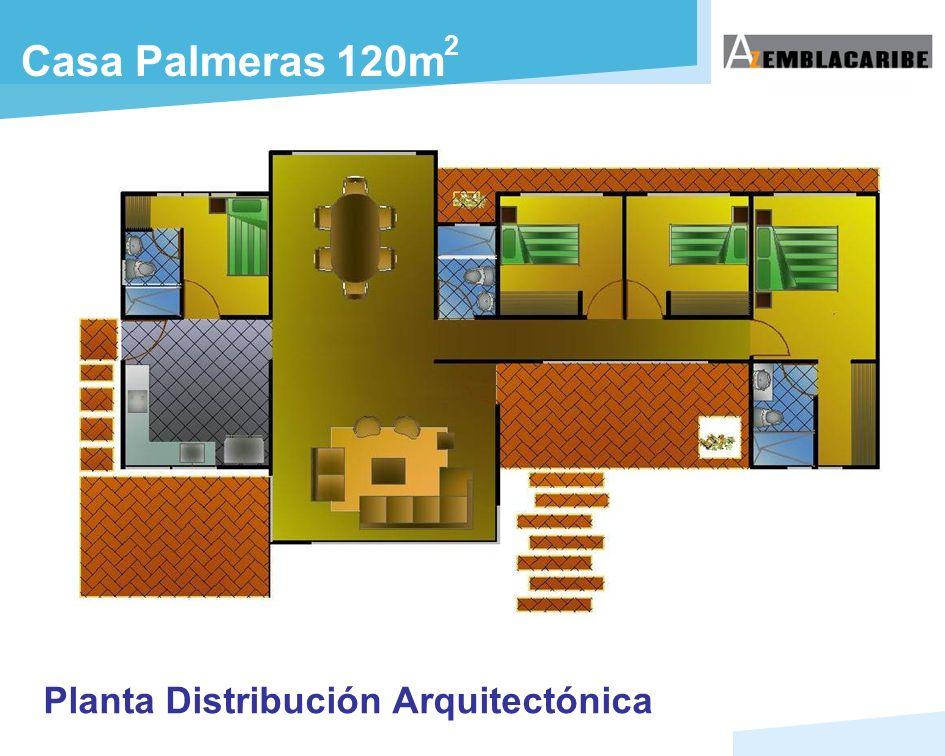 Planta Distribución Arquitectónica Casa Palmeras 120m 2