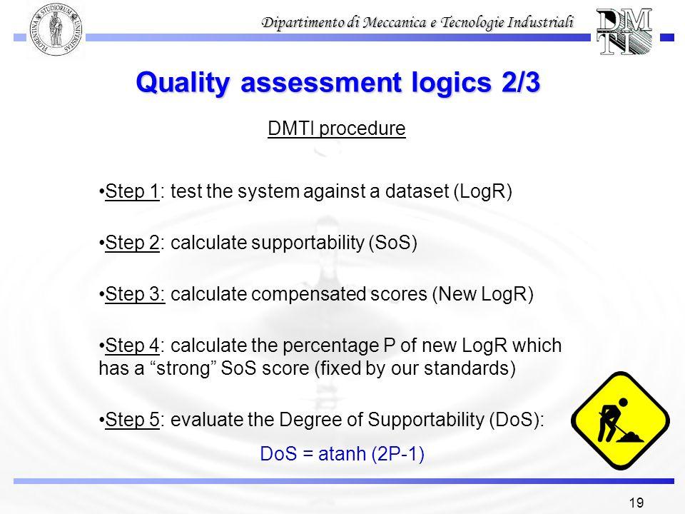 19 Dipartimento di Meccanica e Tecnologie Industriali Quality assessment logics 2/3 DMTI procedure Step 1: test the system against a dataset (LogR) St