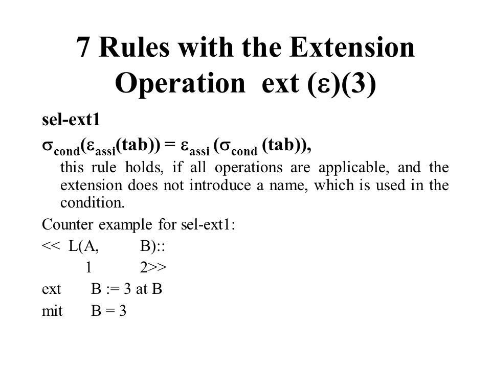 7 Rules with the Extension Operation ext ( )(3) sel-ext1 cond ( assi (tab)) = assi ( cond (tab)), this rule holds, if all operations are applicable, a