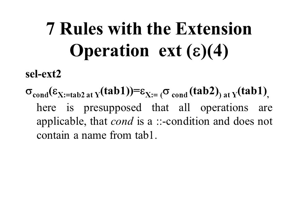 7 Rules with the Extension Operation ext ( )(4) sel-ext2 cond ( X:=tab2 at Y (tab1))= X:= ( cond (tab2) ) at Y (tab1), here is presupposed that all op
