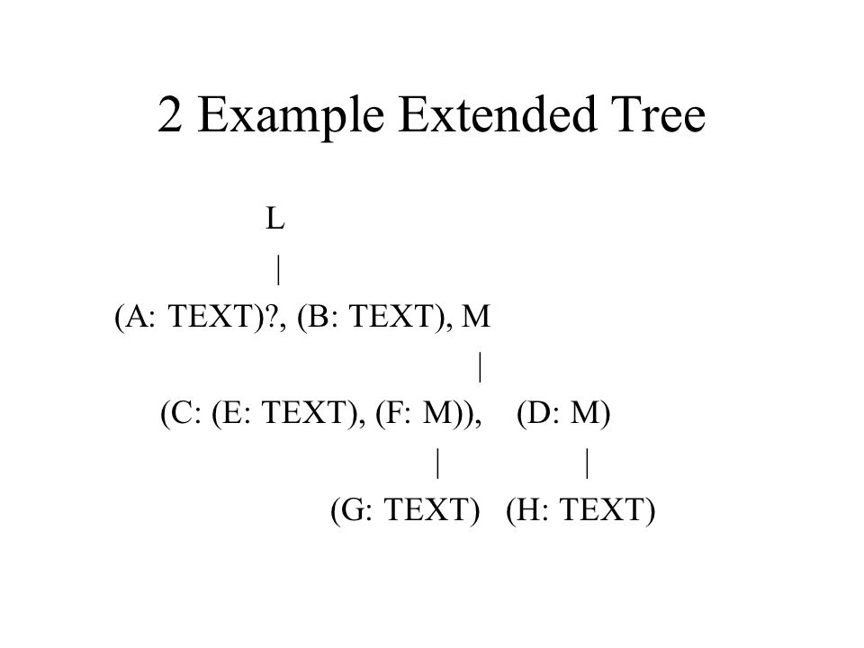 2 Example Extended Tree L | (A: TEXT)?, (B: TEXT), M | (C: (E: TEXT), (F: M)), (D: M) | | (G: TEXT) (H: TEXT)