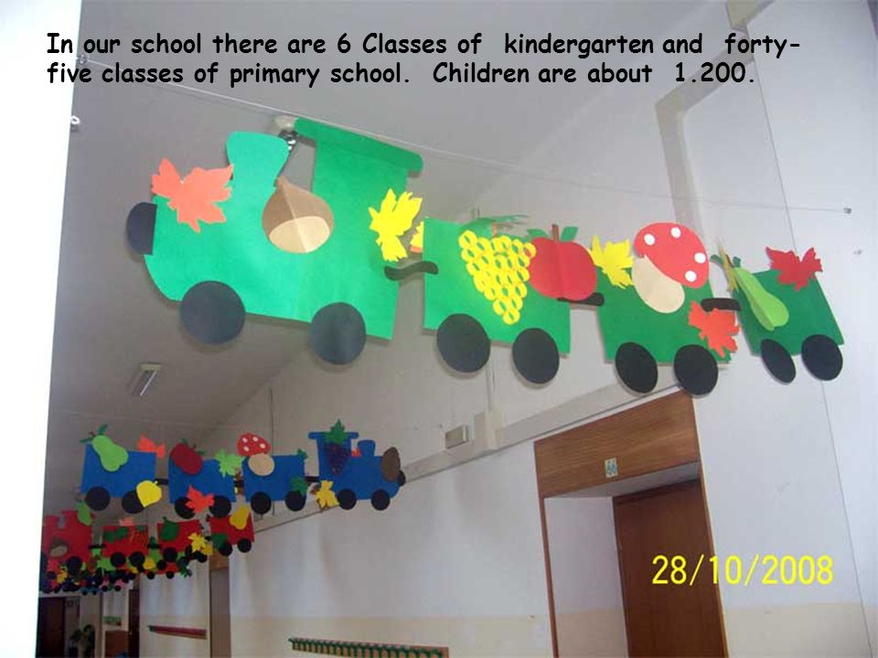 In our school there are 6 Classes of kindergarten and forty- five classes of primary school. Children are about 1.200.