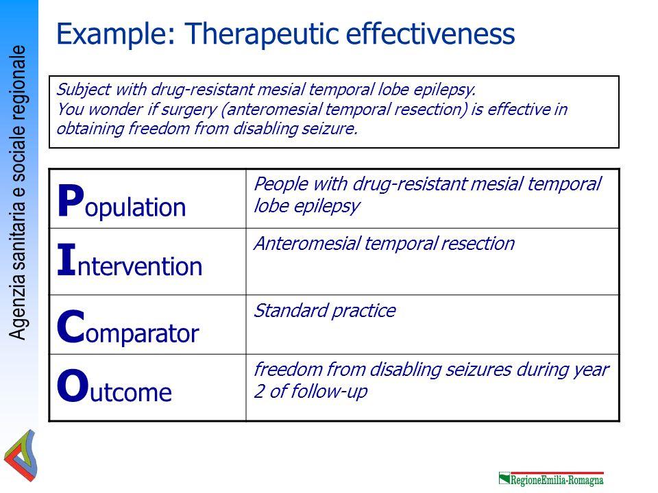 Agenzia sanitaria e sociale regionale P opulation People with drug-resistant mesial temporal lobe epilepsy I ntervention Anteromesial temporal resecti