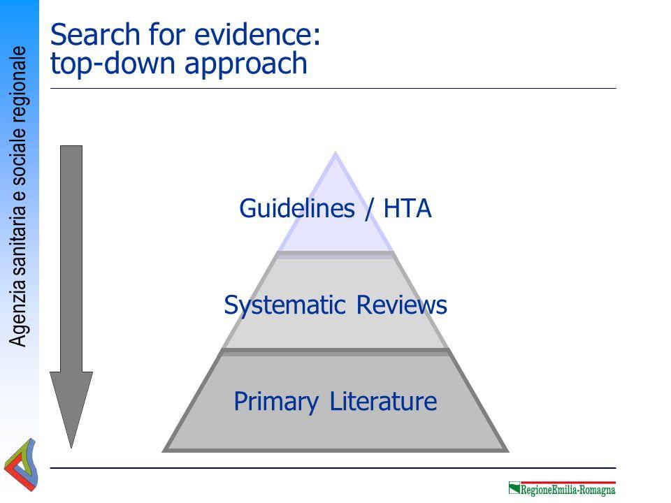 Agenzia sanitaria e sociale regionale Search for evidence: top-down approach