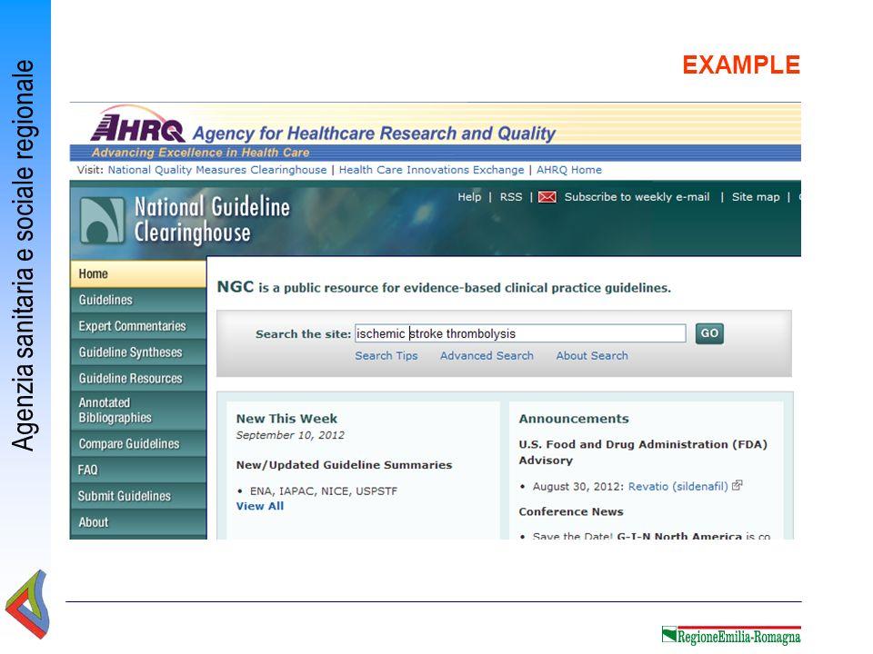 Agenzia sanitaria e sociale regionale EXAMPLE