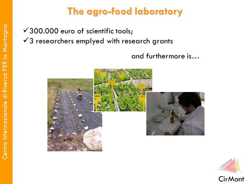 Centro Internazionale di Ricerca PER la Montagna CirMont 300.000 euro of scientific tools; 3 researchers emplyed with research grants The agro-food laboratory and furthermore is…