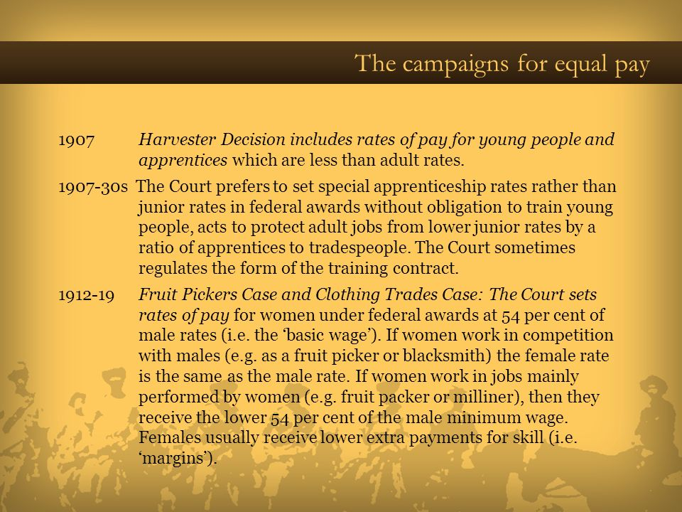 The campaigns for equal pay 1907 Harvester Decision includes rates of pay for young people and apprentices which are less than adult rates. 1907-30s T