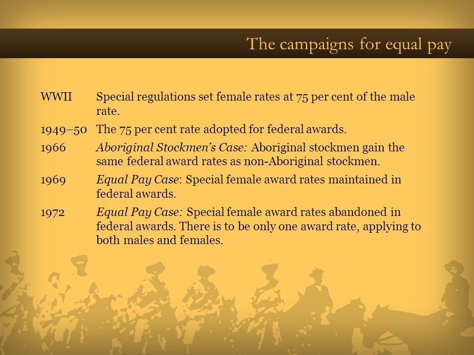 The campaigns for equal pay WWII Special regulations set female rates at 75 per cent of the male rate. 1949–50 The 75 per cent rate adopted for federa