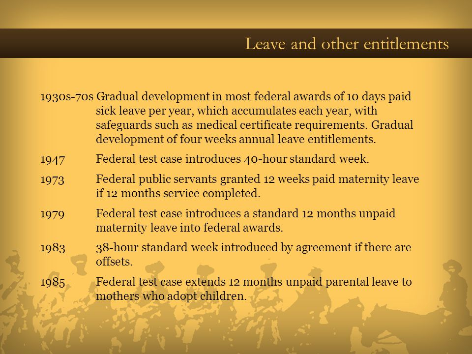 Leave and other entitlements 1930s-70s Gradual development in most federal awards of 10 days paid sick leave per year, which accumulates each year, wi