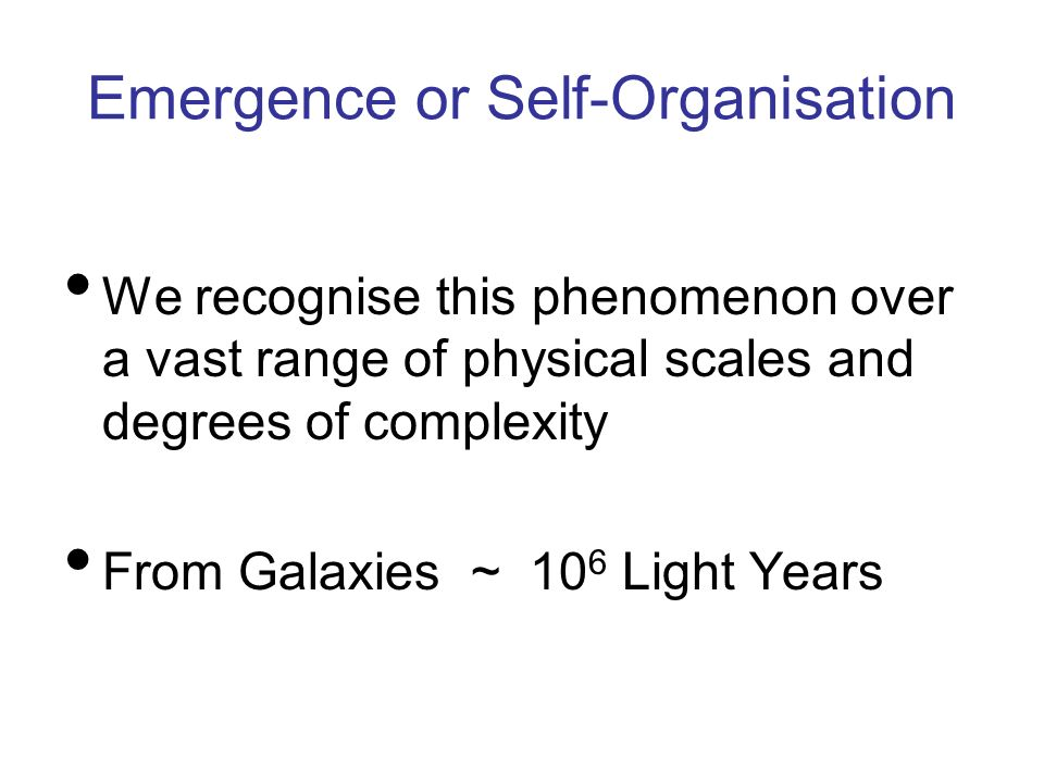 Emergence or Self-Organisation We recognise this phenomenon over a vast range of physical scales and degrees of complexity From Galaxies ~ 10 6 Light
