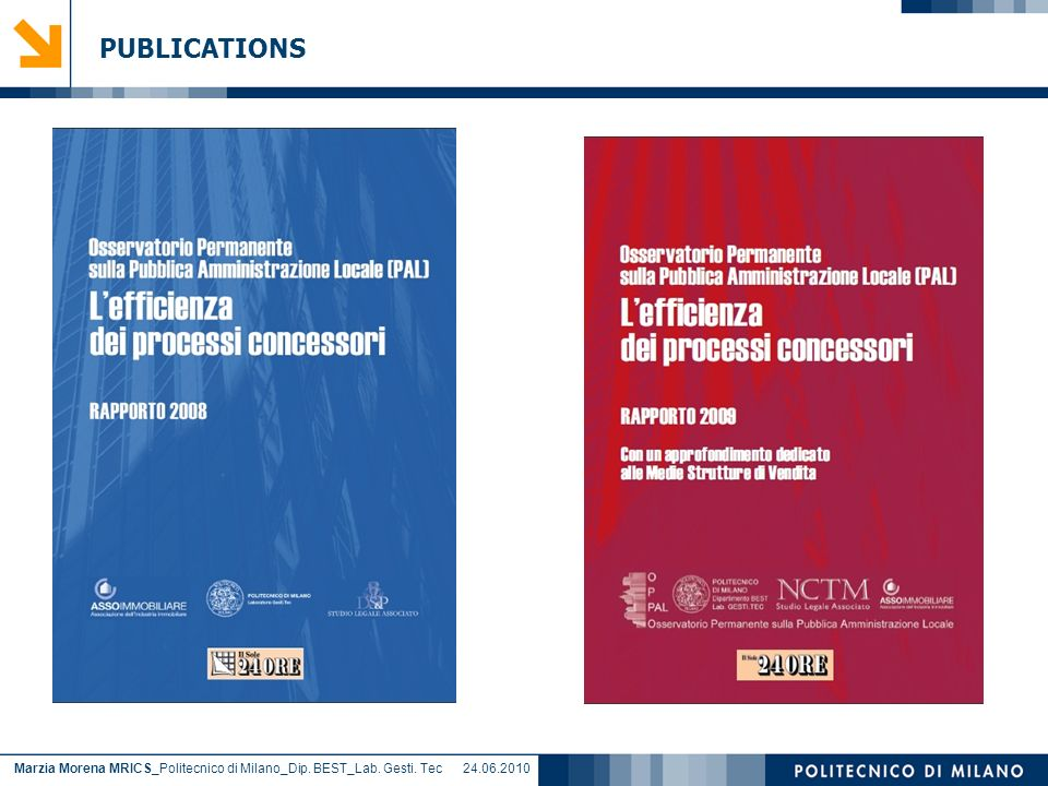 Marzia Morena MRICS_Politecnico di Milano_Dip. BEST_Lab. Gesti. Tec 24.06.2010 PUBLICATIONS