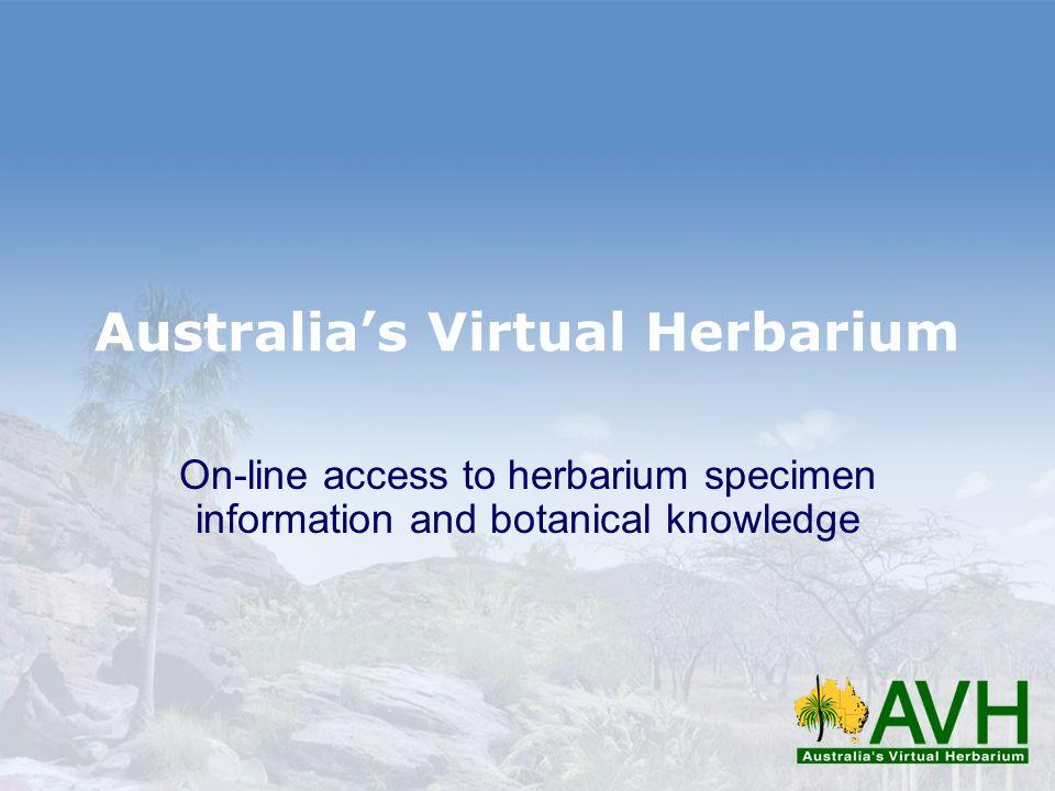 Australias Virtual Herbarium On-line access to herbarium specimen information and botanical knowledge