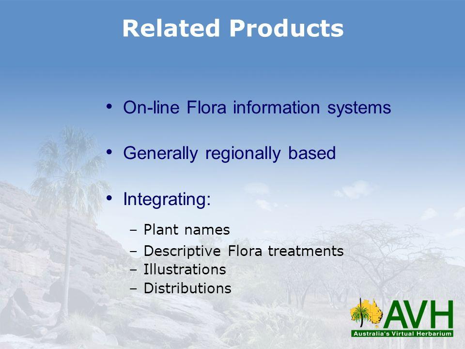On-line Flora information systems Generally regionally based Integrating: –Plant names –Descriptive Flora treatments –Illustrations –Distributions Rel