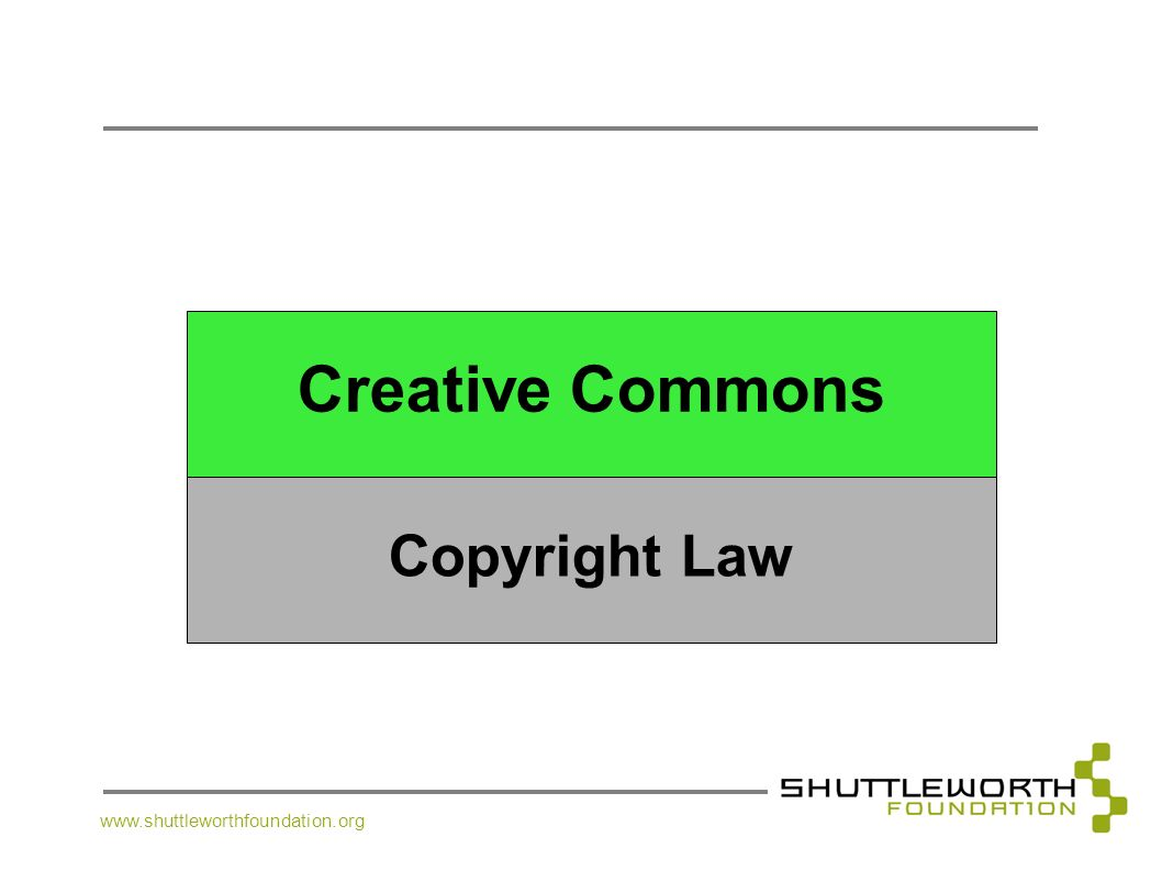 www.shuttleworthfoundation.org Creative Commons Copyright Law