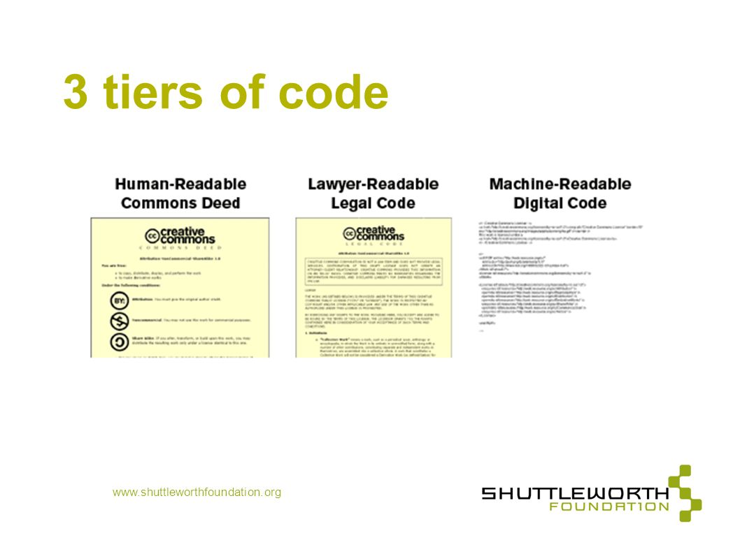 www.shuttleworthfoundation.org 3 tiers of code