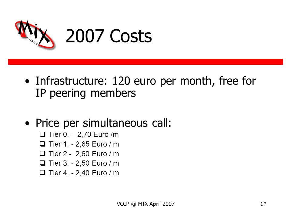 VOIP @ MIX April 200717 2007 Costs Infrastructure: 120 euro per month, free for IP peering members Price per simultaneous call: Tier 0.