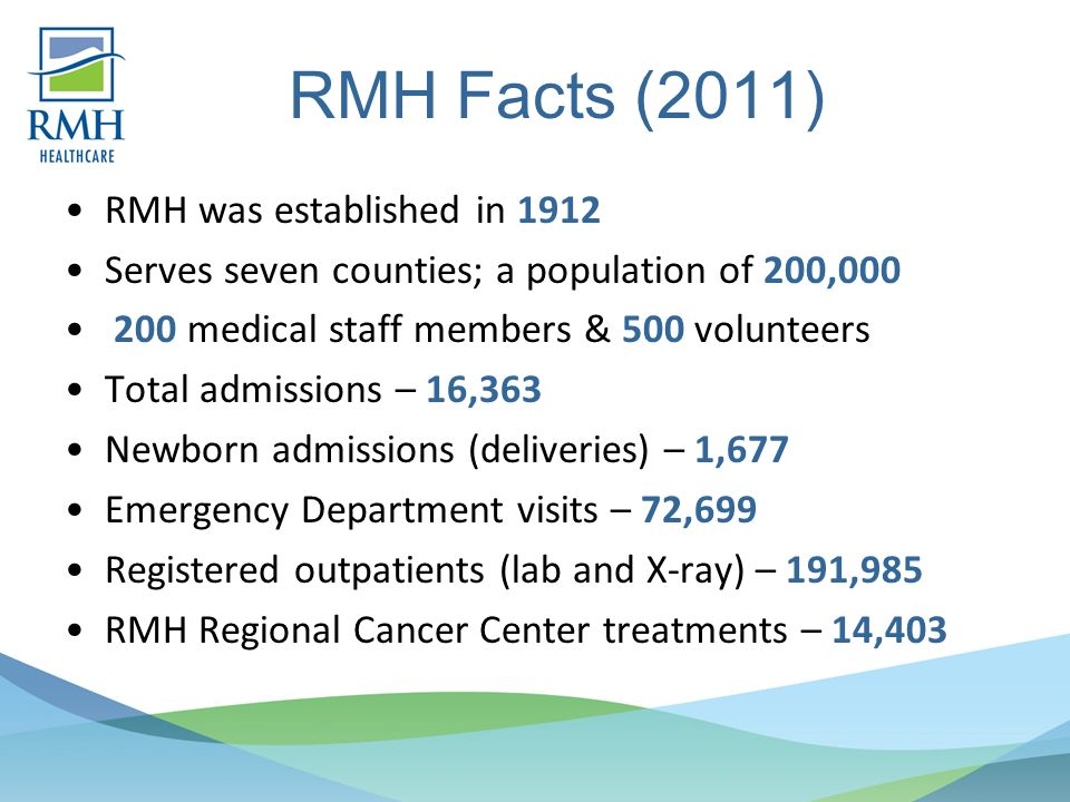 RMH Facts (2011) RMH was established in 1912 Serves seven counties; a population of 200,000 200 medical staff members & 500 volunteers Total admissions – 16,363 Newborn admissions (deliveries) – 1,677 Emergency Department visits – 72,699 Registered outpatients (lab and X-ray) – 191,985 RMH Regional Cancer Center treatments – 14,403
