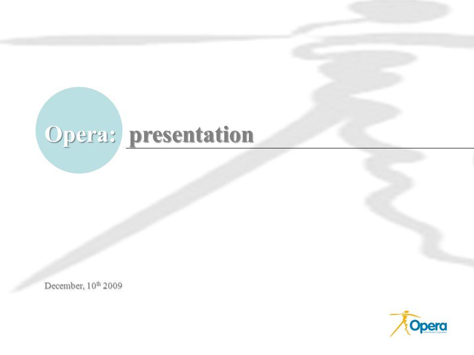Opera: presentation December, 10 th 2009