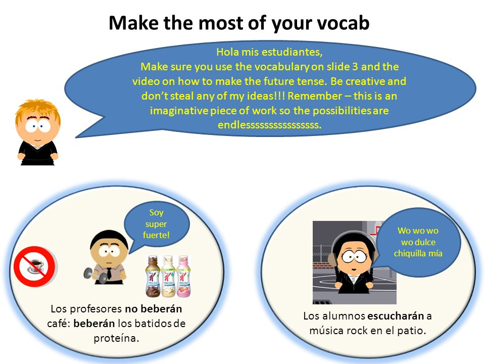 Make the most of your vocab Hola mis estudiantes, Make sure you use the vocabulary on slide 3 and the video on how to make the future tense.