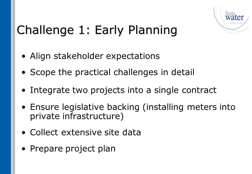 Challenge 2: Procurement Appoint Managing Contractor Draft the meter specifications and establish supply contracts.