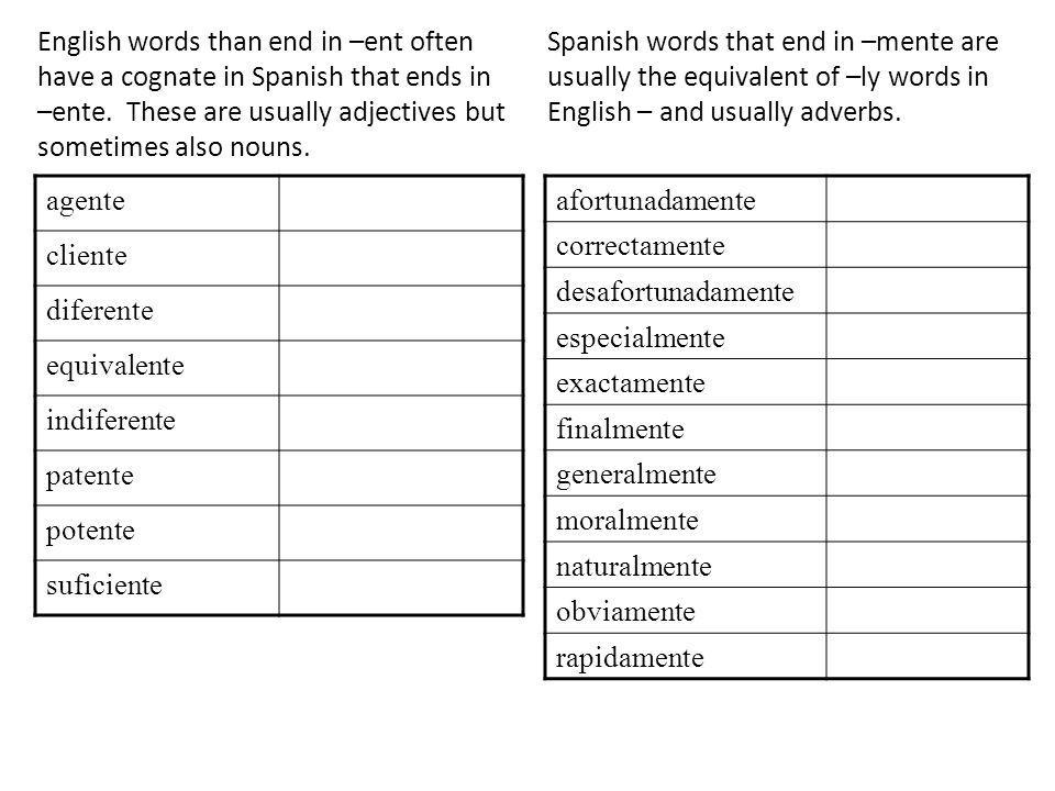 English words than end in –ent often have a cognate in Spanish that ends in –ente. These are usually adjectives but sometimes also nouns. agente clien