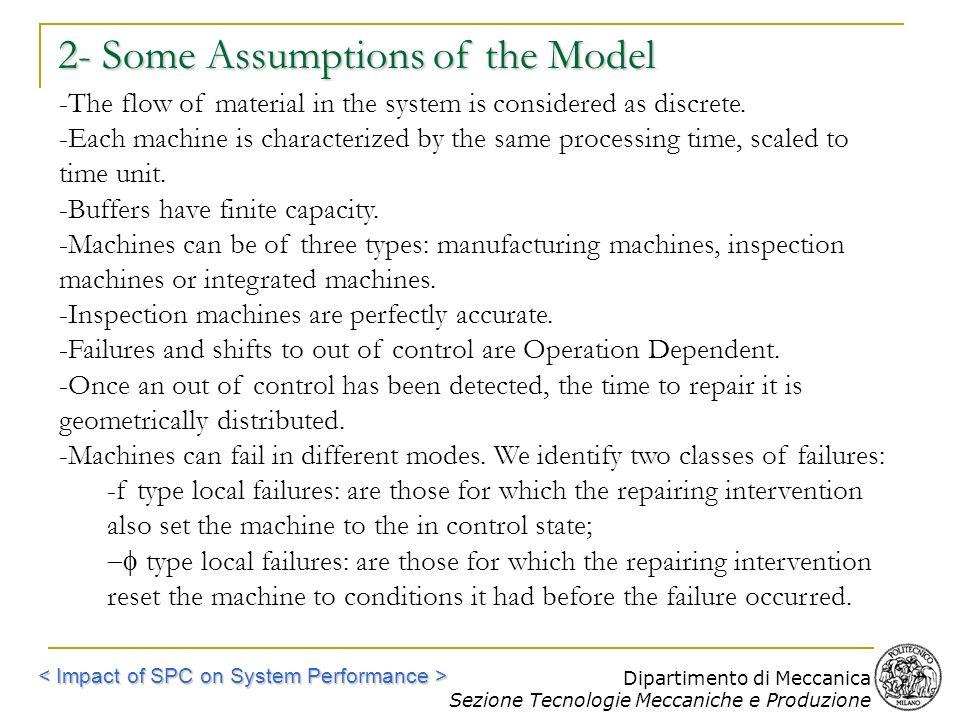 Dipartimento di Meccanica Sezione Tecnologie Meccaniche e Produzione 2- Some Assumptions of the Model -The flow of material in the system is considere