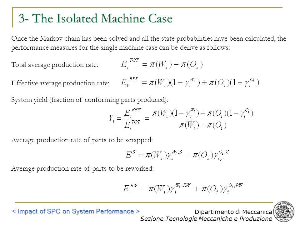Dipartimento di Meccanica Sezione Tecnologie Meccaniche e Produzione 3- The Isolated Machine Case Once the Markov chain has been solved and all the st