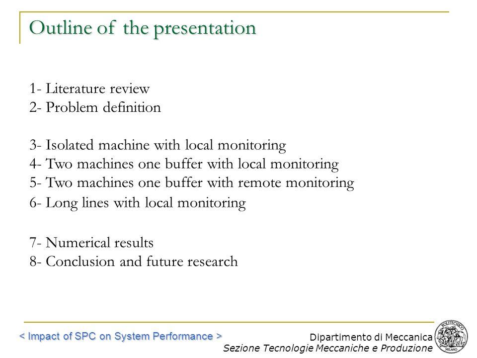 Dipartimento di Meccanica Sezione Tecnologie Meccaniche e Produzione Outline of the presentation 1- Literature review 2- Problem definition 3- Isolate