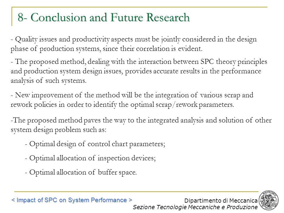 Dipartimento di Meccanica Sezione Tecnologie Meccaniche e Produzione 8- Conclusion and Future Research - Quality issues and productivity aspects must