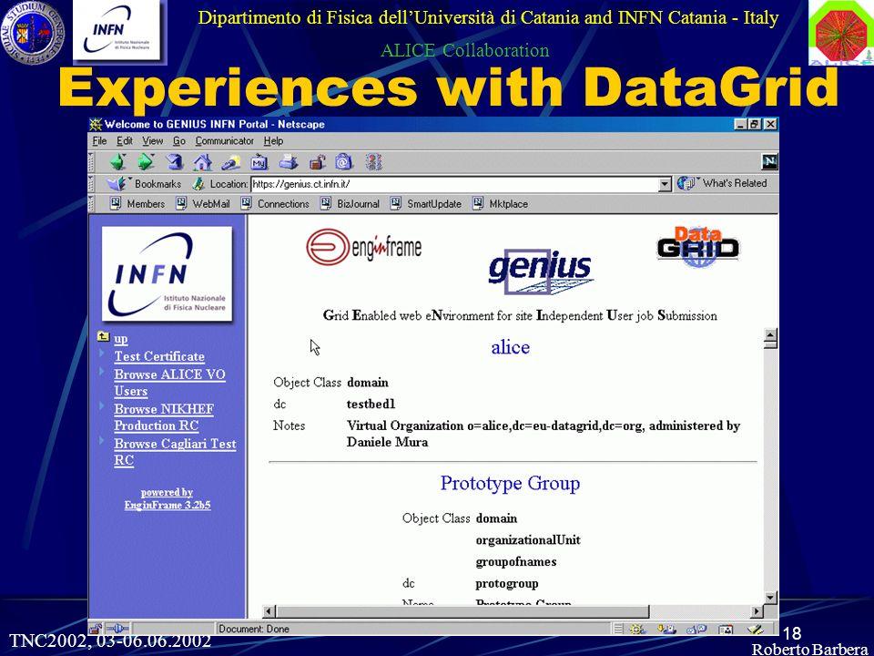 18 Roberto Barbera Experiences with DataGrid Dipartimento di Fisica dellUniversità di Catania and INFN Catania - Italy ALICE Collaboration TNC2002, 03-06.06.2002