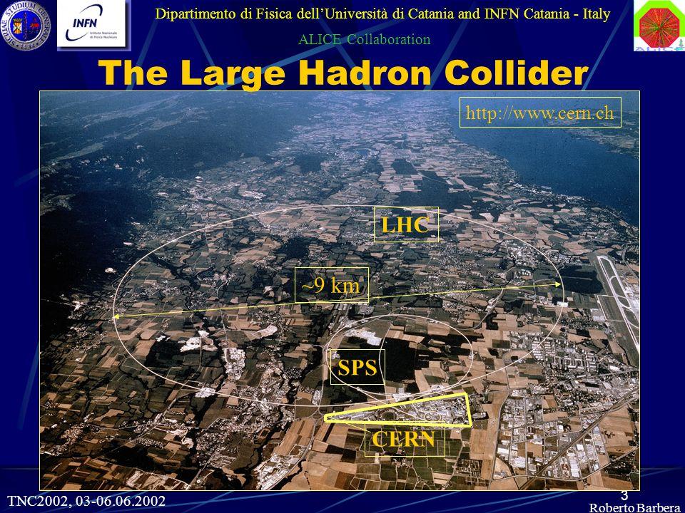 3 http://www.cern.ch ~9 km LHC SPS CERN Roberto Barbera Dipartimento di Fisica dellUniversità di Catania and INFN Catania - Italy ALICE Collaboration The Large Hadron Collider TNC2002, 03-06.06.2002