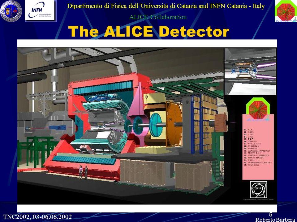 5 Roberto Barbera Dipartimento di Fisica dellUniversità di Catania and INFN Catania - Italy ALICE Collaboration TNC2002, 03-06.06.2002 The ALICE Detector